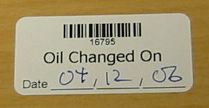 Oil Changed Labels