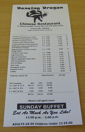 Chinese Restaurant Receipts