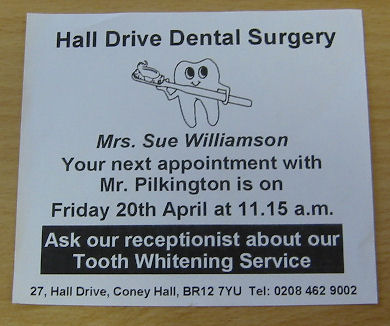 Dental Patient Appointment Cards