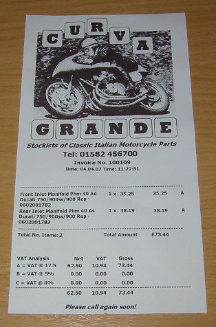 Motorcycle Spare Parts Receipts