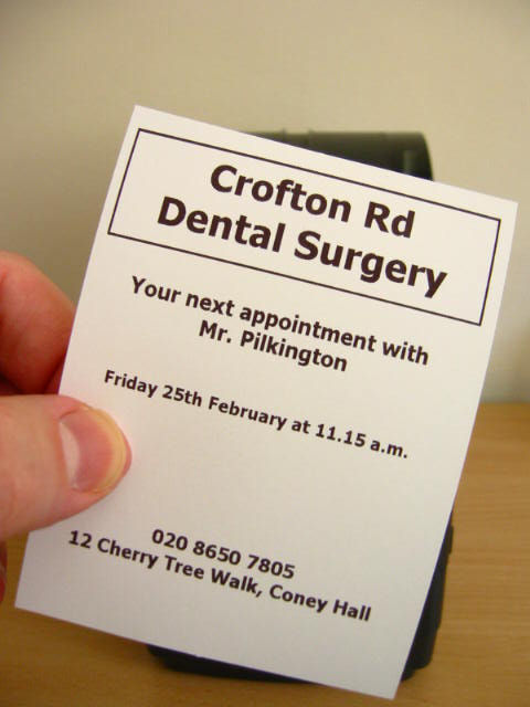 Appointment Cards,Dental Appointment Cards,Surgery Appointment Cards