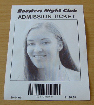 Admission Ticket with Customer Photo ID